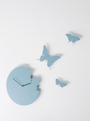 Niebieski zegar ścienny - Motyle