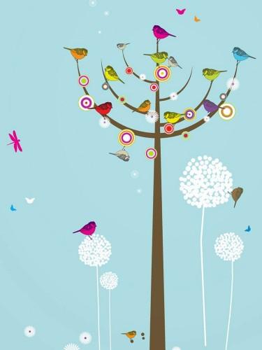 Kolorowe naklejki ścienne – Ptasie Drzewko