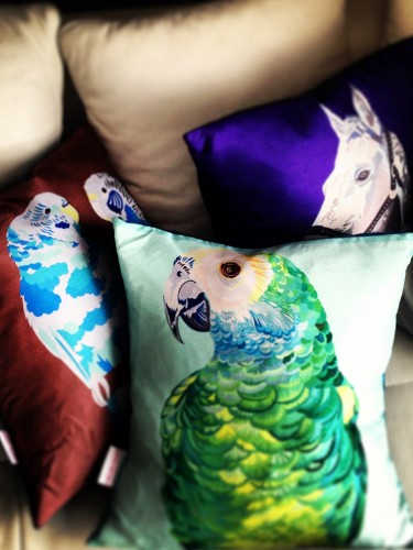 Chloe Croft – Jedwabna poduszka –  papużki