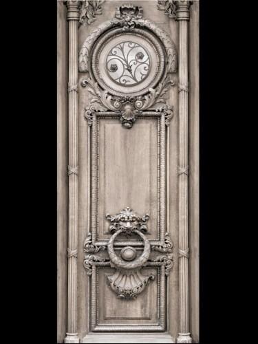 Aksamitna dekoracja drzwi - Beige Haussmann door