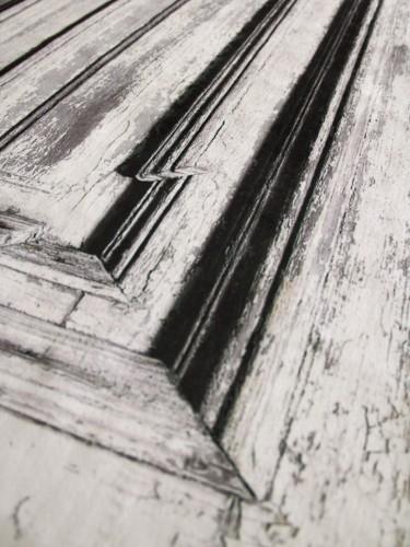 Imitacja przecieranych drzwi vintage - Aksamitna dekoracja drzwi