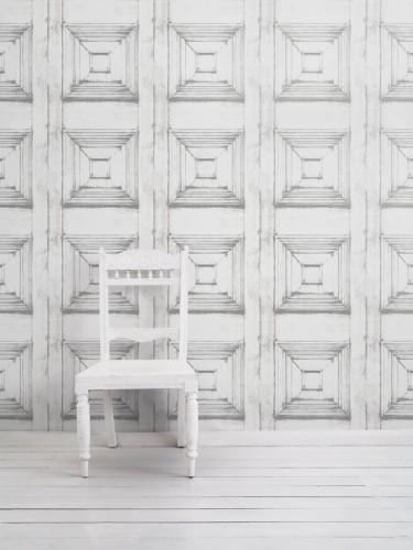 Tapeta Victorian Panelling - Almost White