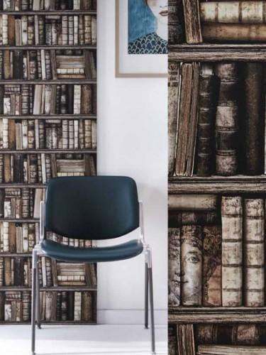 Winylowa tapeta do gabinetu - Biblioteka retro