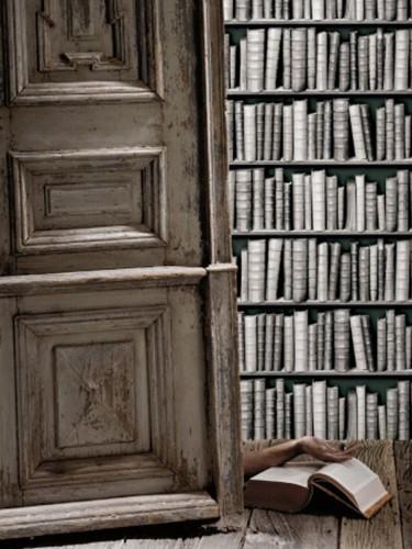 Czarno-biała tapeta imitująca biblioteczkę