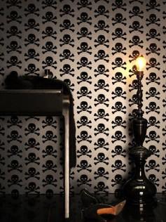 Skulls - Tapeta z motywem czaszki -  Czarna 10m