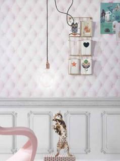 Koziel - Tapeta tapicerowana dla dzieci - Pikowany róż 10m