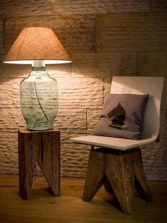 Designerska lampa stołowa z abażurem turkusowa