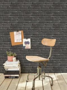Koziel - Tapeta imitująca czarną cegłę 10m