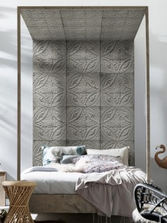 Tapeta vintage - Antique Light Grey Tin Tiles