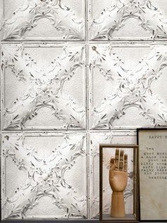 Tapeta w kafelki - Antique White Tin Tiles